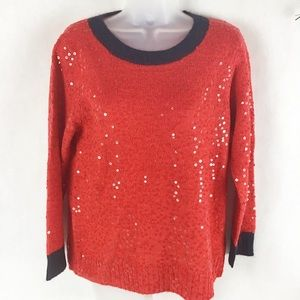 J Crew Holiday Red Sequin Ringer Sweater
